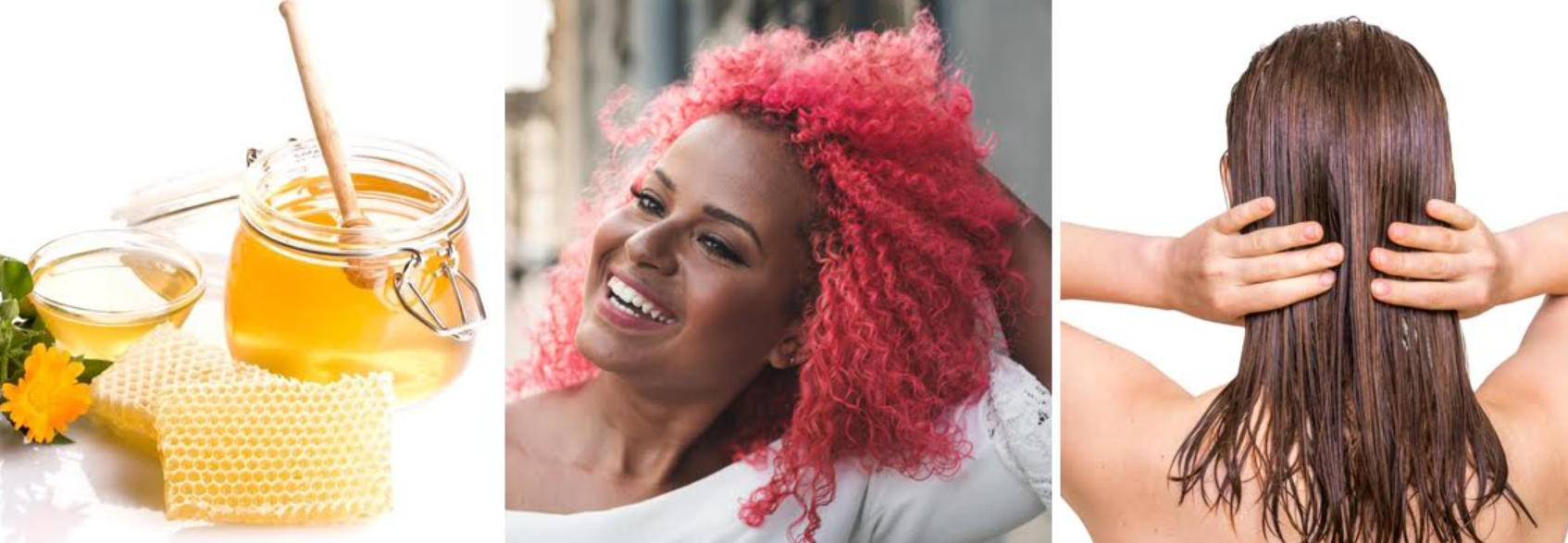 imagens de mulheres com os cabelos hidratados usando mel