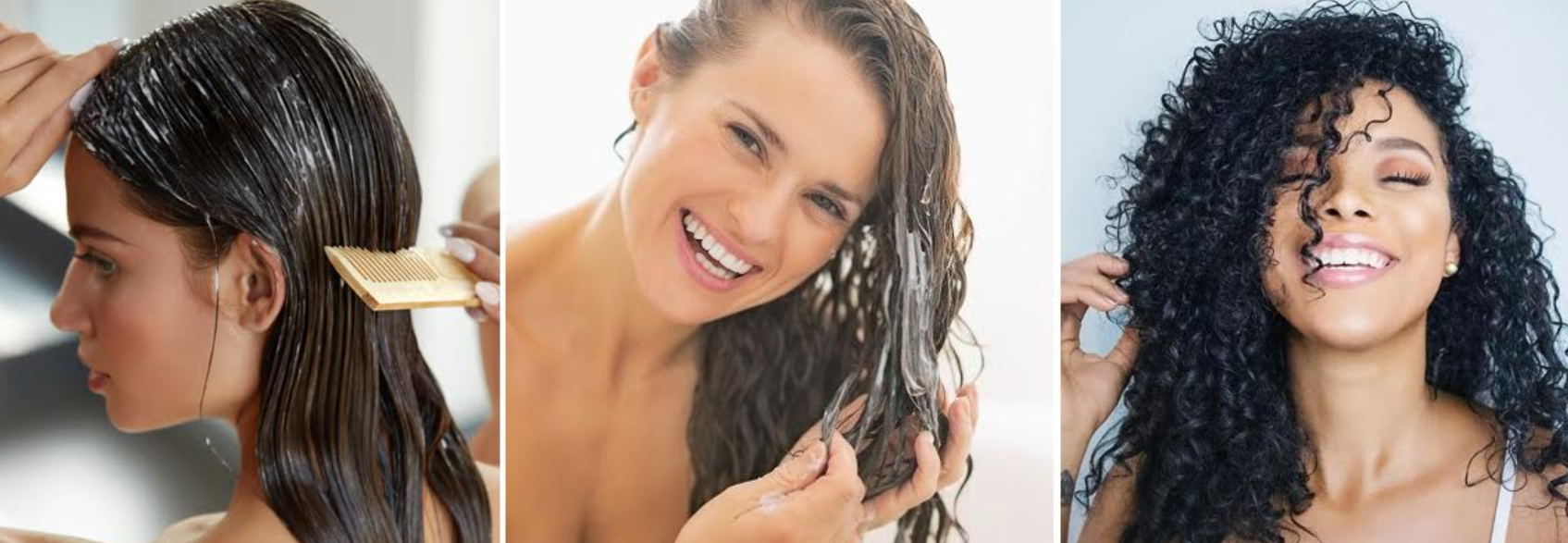 imagens de mulheres hidratando os cabelos de diferentes formas