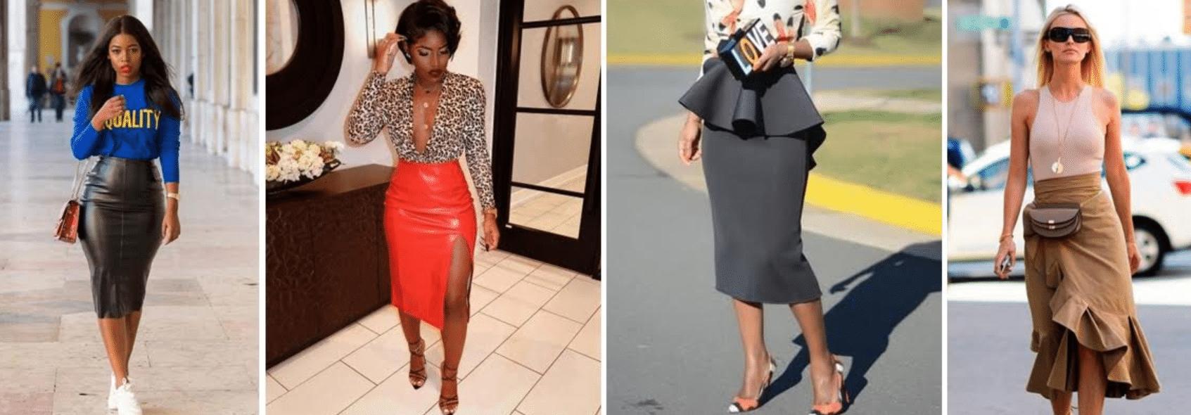 imagens de mulheres usando modelos de saia lápis com designs diferenciados