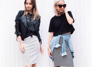 imagem de destaca de duas mulheres loiras usando diferentes tipos de saia lápis