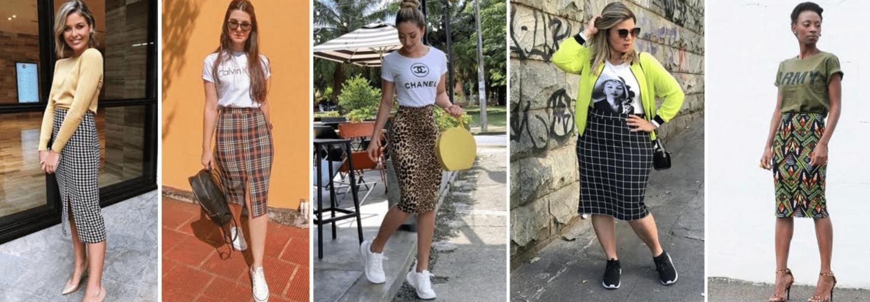 imagens de mulheres usando modelos de saia lápis estampadas