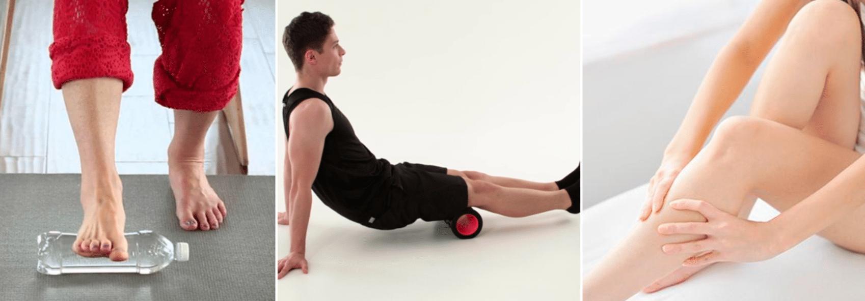 imagem de posições para automassagem em suas pernas e pés