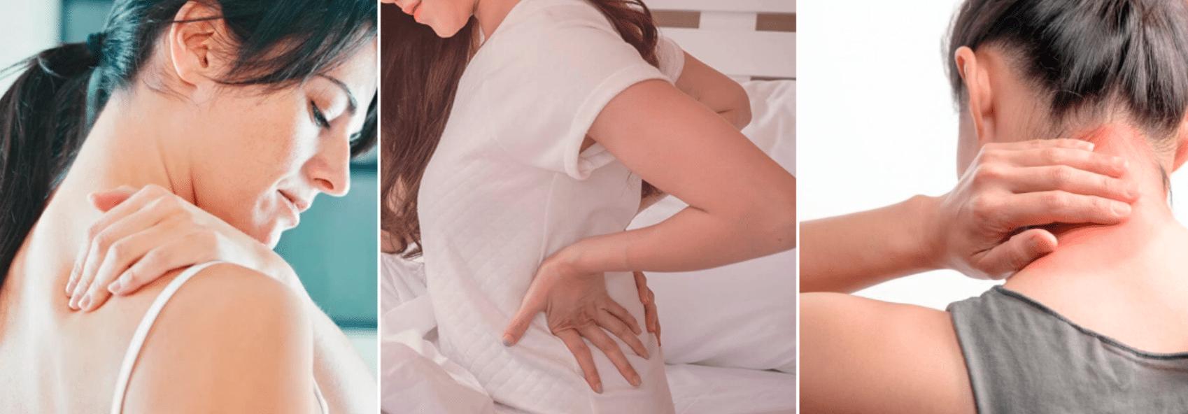 imagem de mulheres fazendo automassagem nas costas, cabeça e pescoço