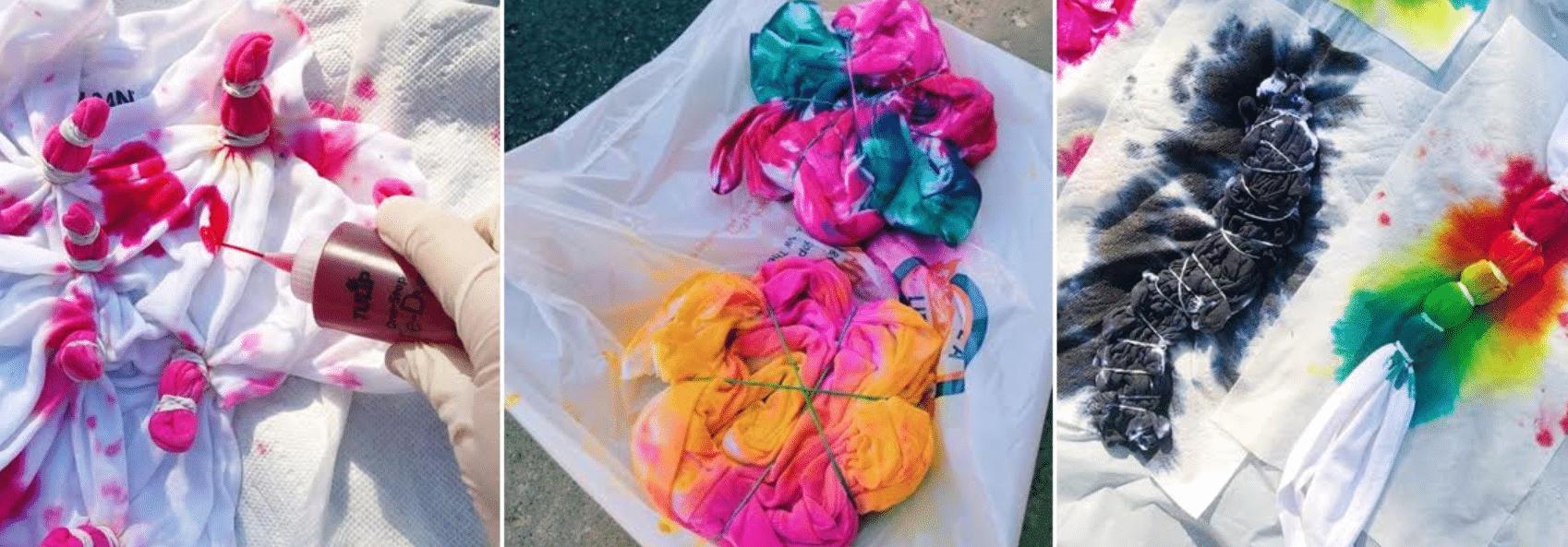 imagens de camisetas tie dye em meio ao seu processo de confecção