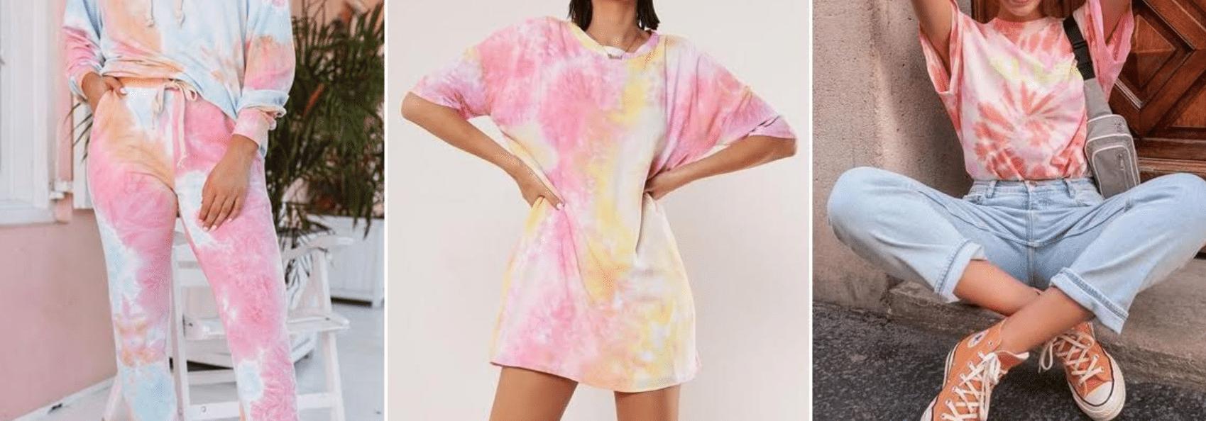 imagem de modelo usando camiseta tie dye em cores amarela e rosa