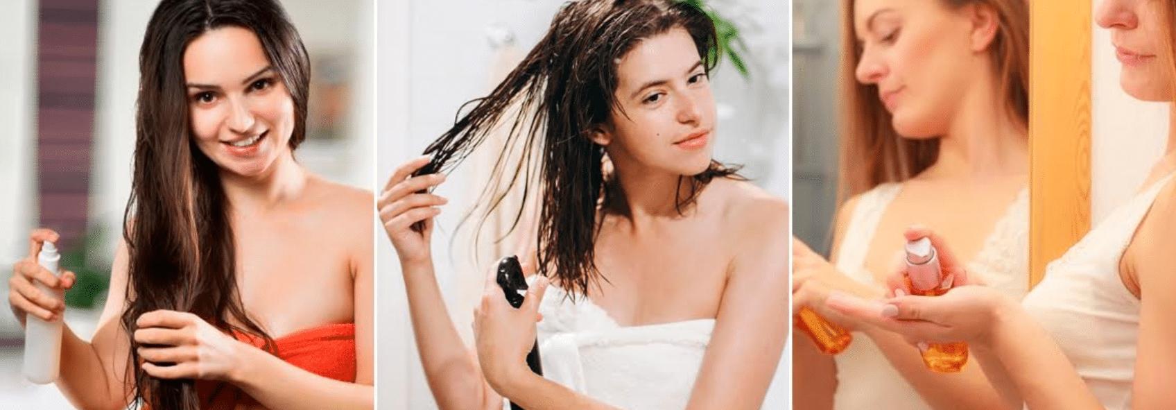 três imagens de mulheres aplicando protetor térmicos nos cabelos molhados