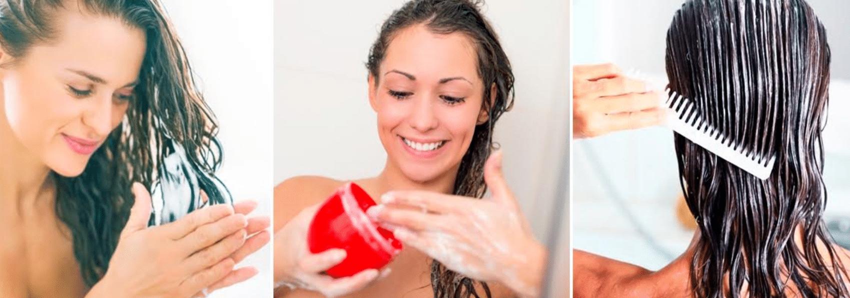 imagens de mulheres hidratando os fios após pintarem o cabelo em casa