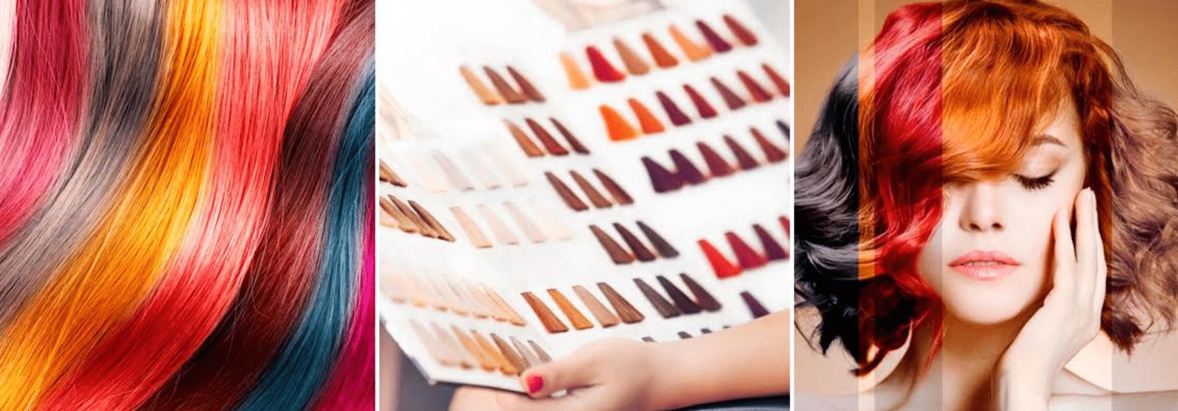 imagem aproximada de paleta de tintas para pintar o cabelo em casa