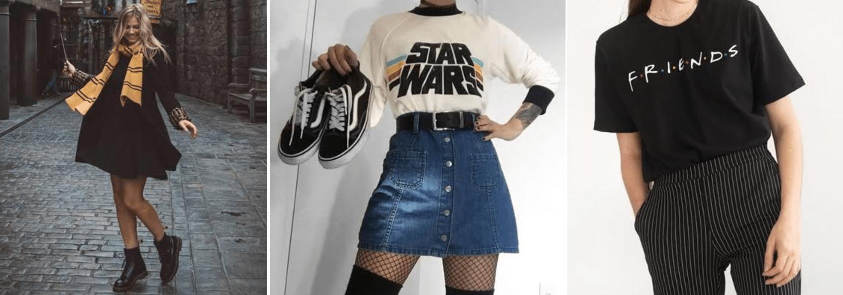 imagens de três pessoas usando roupas com temas da cultura pop