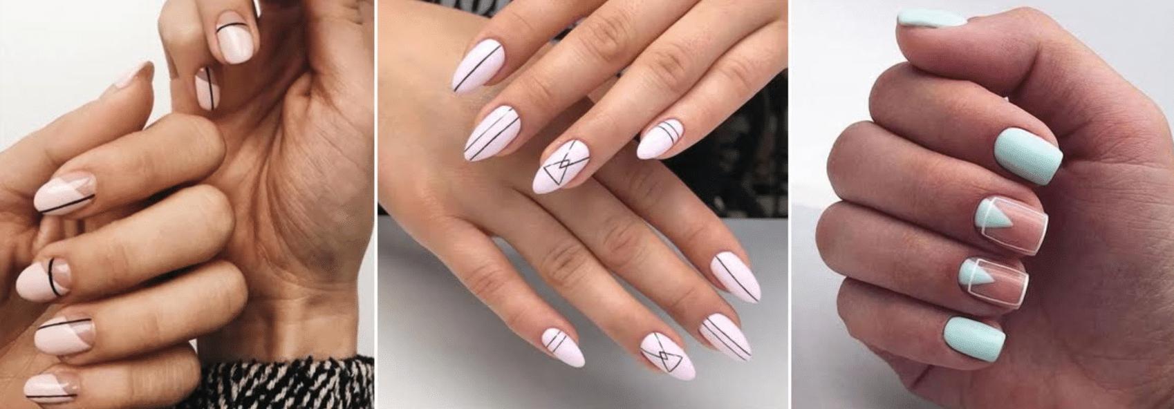 imagem de mão com unhas decoradas com desenhos geométricos