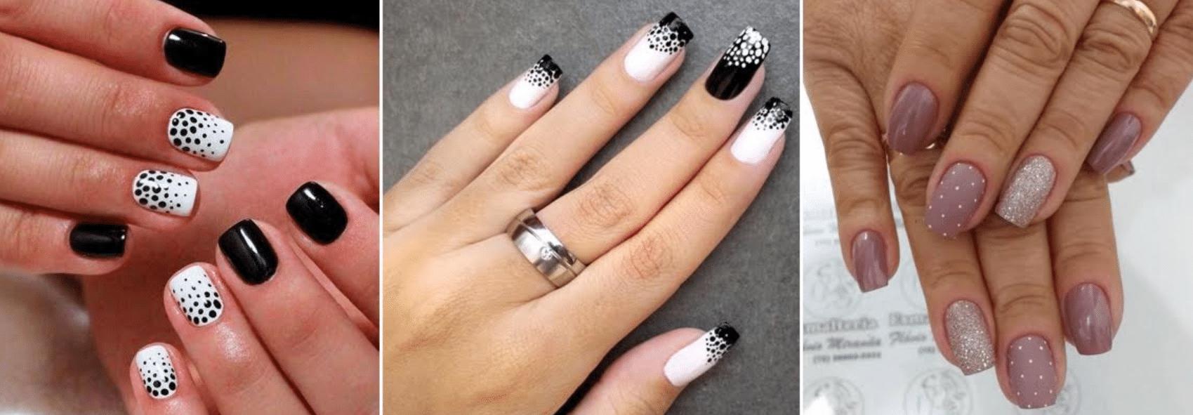 imagem de unhas pintadas com fundo branco ou preto e respingos de preto e branco