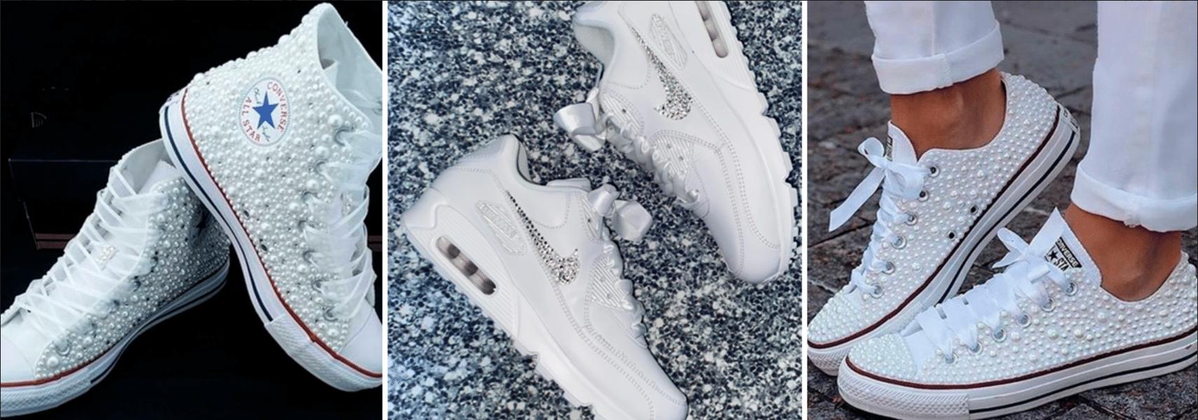 modelos de tênis na cor branca com encrustados de pérolas ou strass