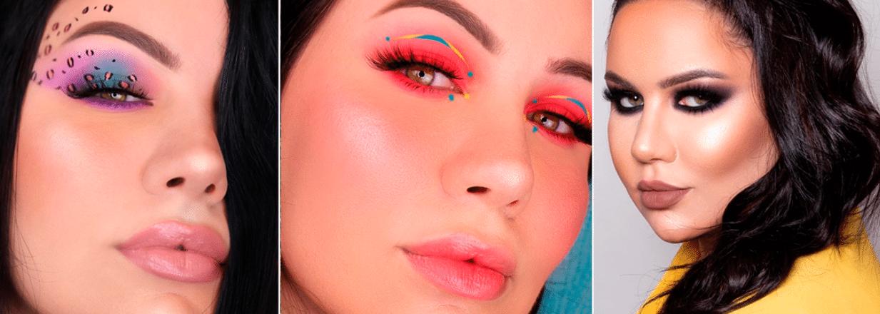 três fotos dfa influencer bruna tavares com diferentes tipos de maquiagens