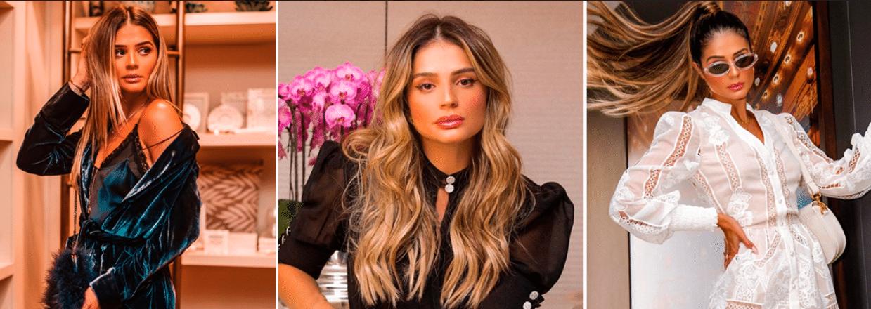 três fotos da influenciadora Thassia Naves usando três tipos de roupas diferentes em cenários distintos