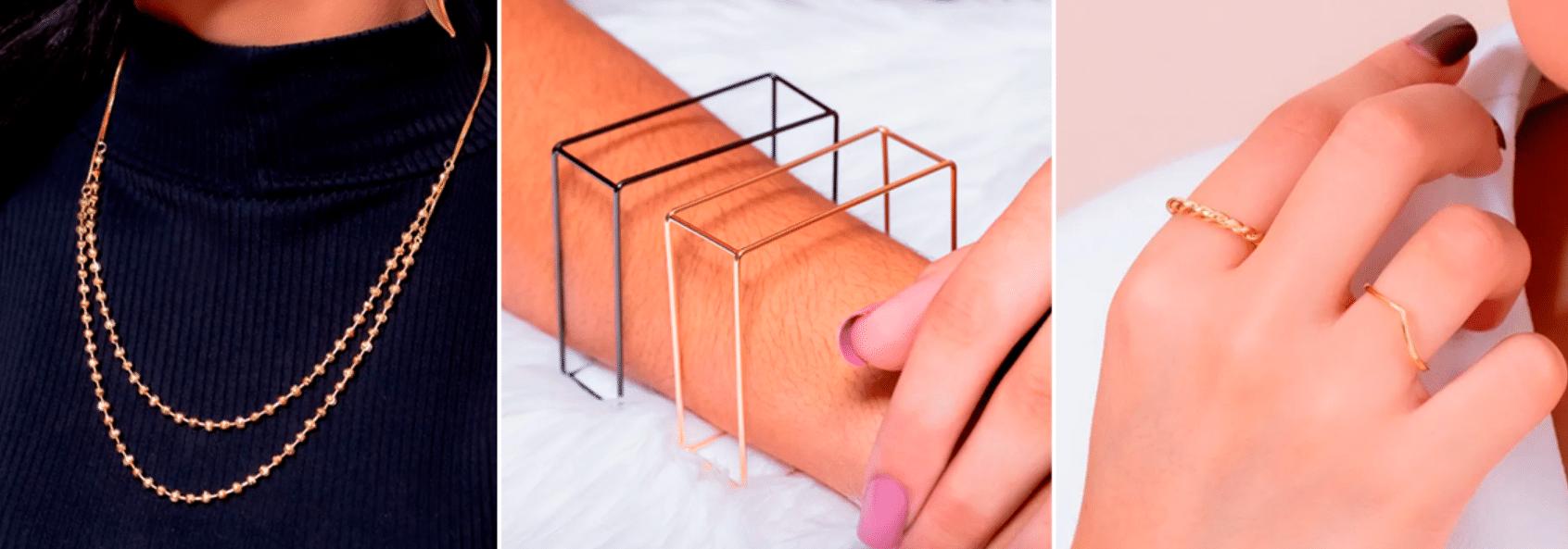 três fotos de joias minimalistas no pescoço, mãos e pulso