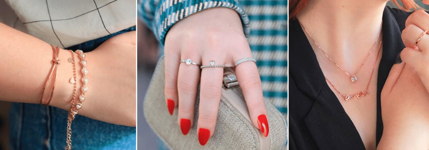 três fotos de joia sendo usadas as mãos, pulso e pescoço