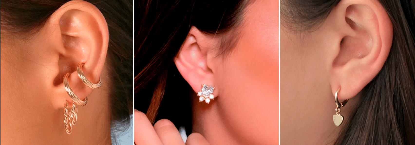 três fotos de uma mulher usando diferentes tipos de brincos pequenos em sua orelha