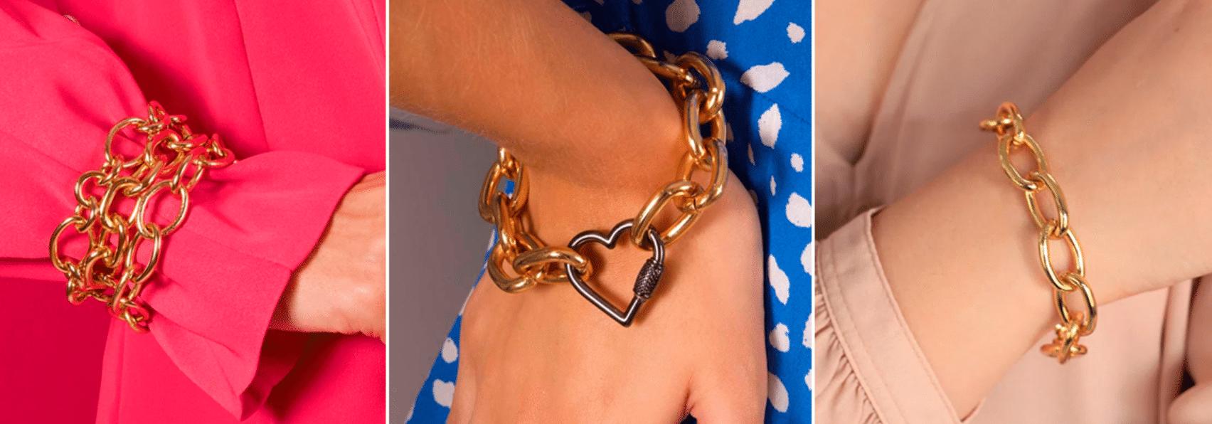 três fotos de diferentes mulheres usando pulseiras de correntes em seus punhos