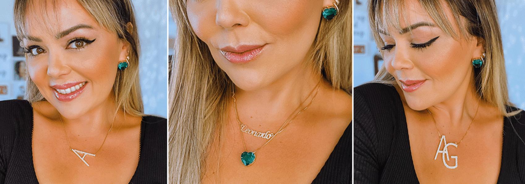 Três fotos de Andreza Goulart usando camiseta preta e joias personalizadas no formato de letras