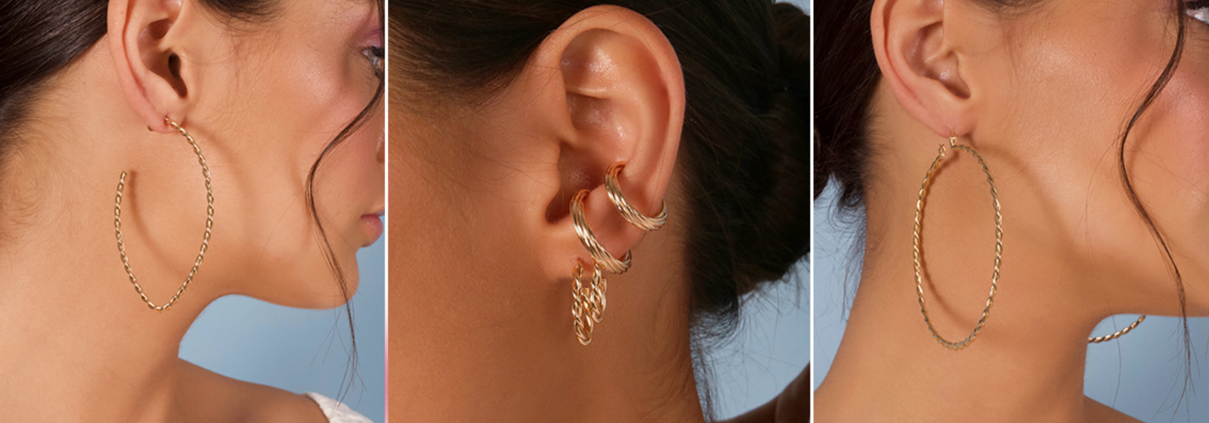 três fotos de uma mulher usando modelos de lançamento de piercings de argola