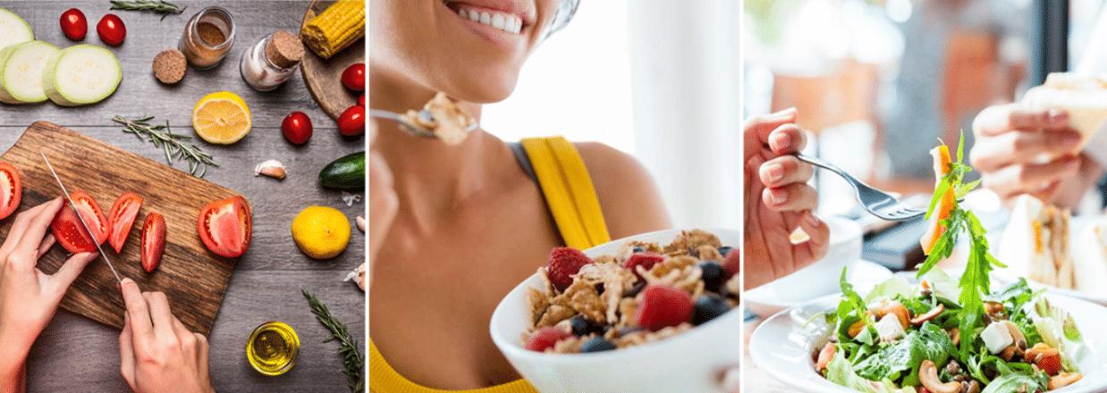 três fotos de mulheres comendo saladas, frutas e carnes