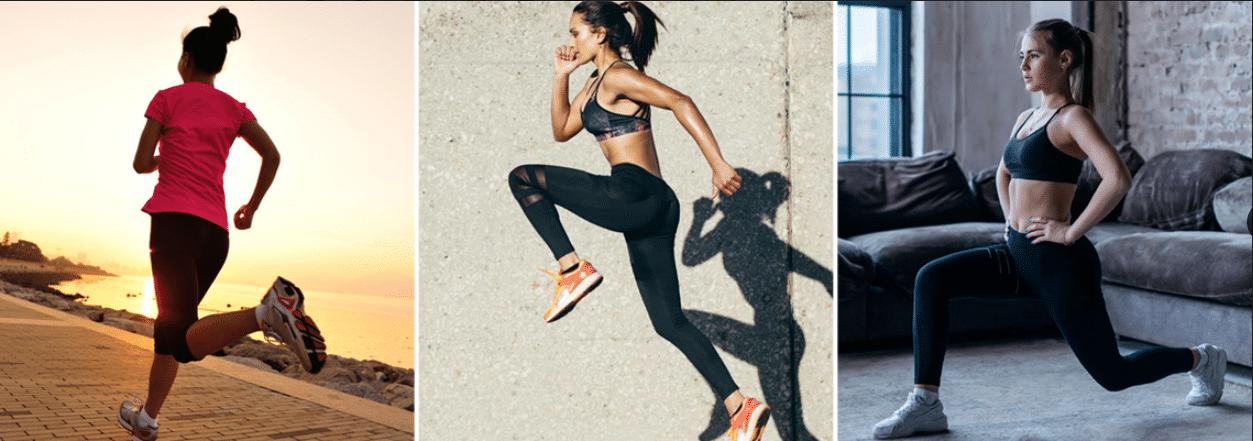 três fotos de mulheres praticando exercícios, sendo duas correndo e uma delas se alongando