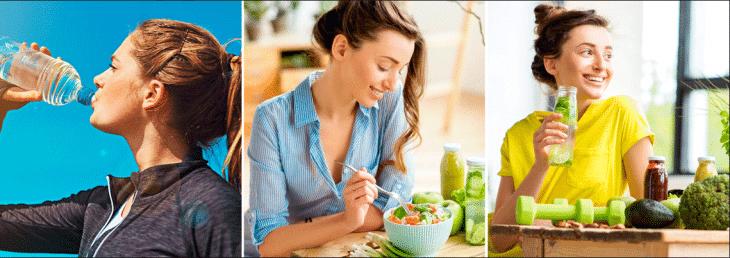 três imagens de mulheres tomando água e comendo saladas