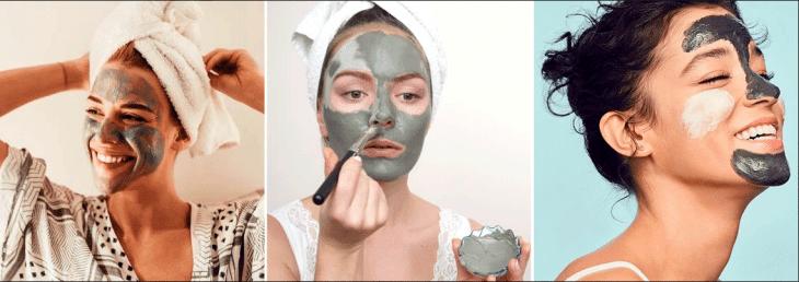 três fotos de mulheres aplicando argila na pele