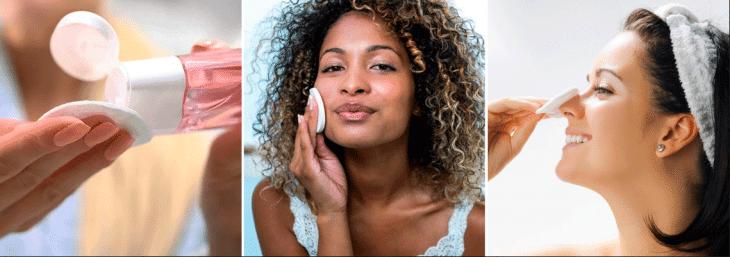 três fotos de mulher aplicando creme para o rosto com o auxilio de esponja e algodão