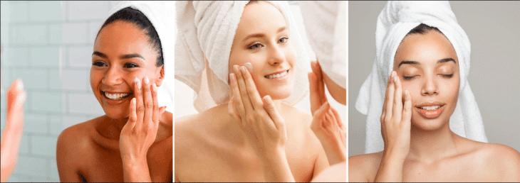 fotos de três mulheres diferentes aplicando cremes para o rosto após saírem do banho