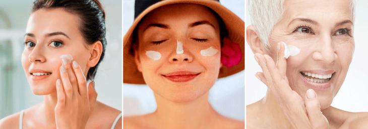três mulheres de diferentes idades aplicando protetor solar no rosto