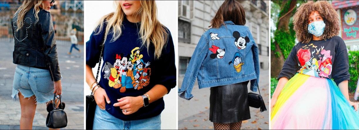 quatro fotos em uma de mulheres usando roupas nas cores azuis e preta com referências à personagens da Disney