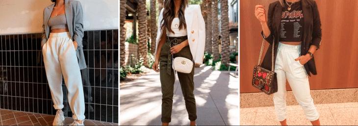 três fotos de mulheres diferentes usando bloazers de diferentes cores junto de calça jogger