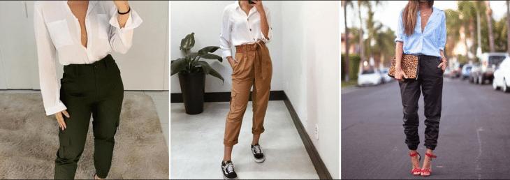 três fotos de mulheres usando conjunto de calça jogger com camisa