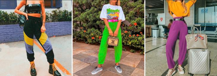 três fotos de mulheres usando calças jogger de diversas cores junto com cunjunto de roupas e bolsas