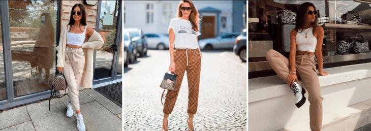três fotos de mulher usando looks com calça jogger e peças curinga. como camiseta regata branca e bolsas