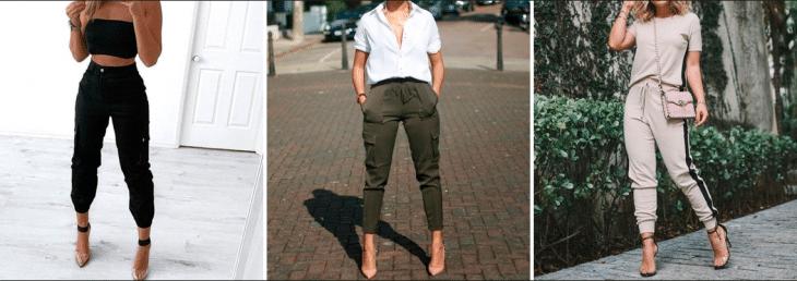 três fotos de mulheres usando looks com calça jogger e saltos finos de diferentes cores