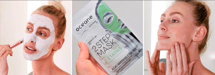 duas imagens de uma mulher usando máscara anti oleosidade da océane