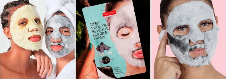 imagem de três mulheres usando máscara facial da purederm