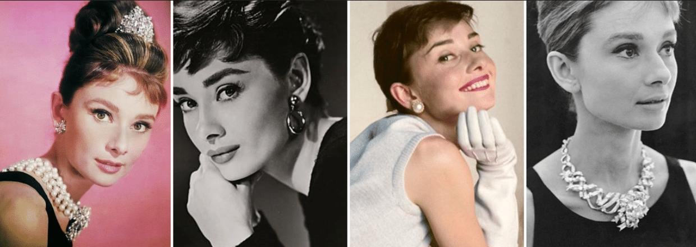 quatro fotos da atriz audrey hepburn