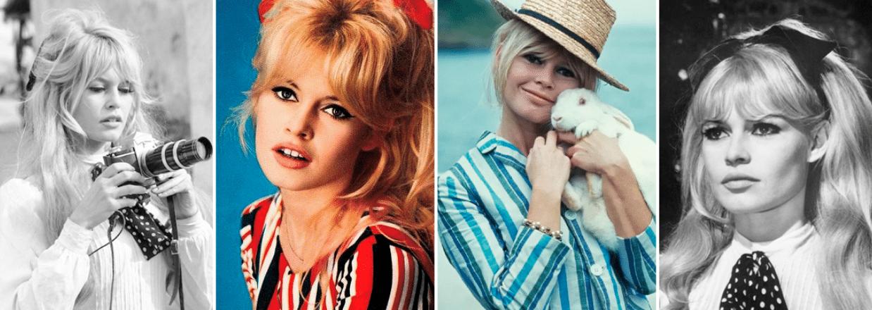 quatro fotos da atriz bridget bardot