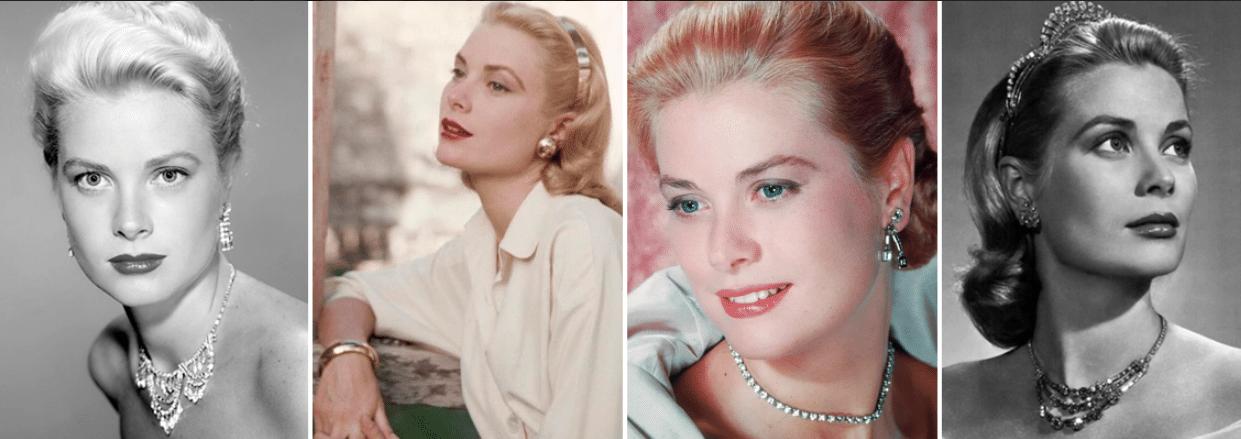 quatro fotos da atriz e modelo grace kelly