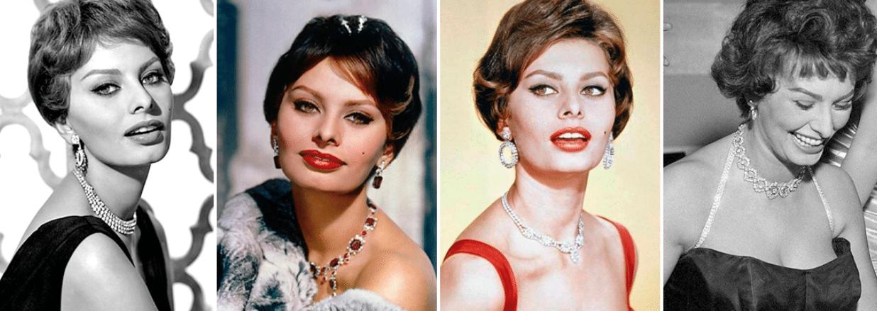 quatro fotos da atriz sophia loren em cores e em preto e branco