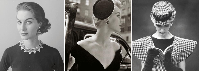 três fotos em preto e branco de mulher da década de 50 usando diferentes tipos de adereços