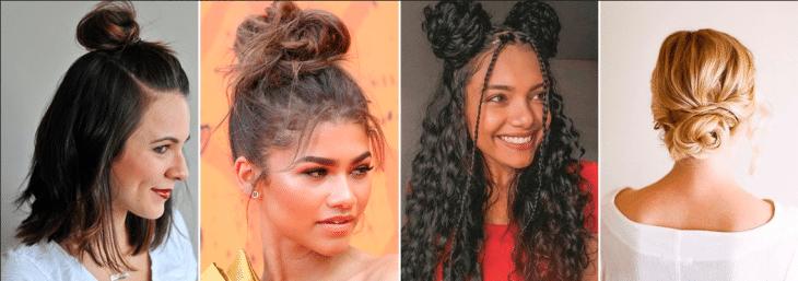 quatro imagens de mulheres usando coque nos cabelos