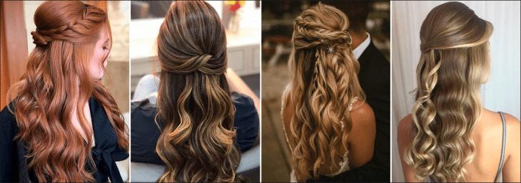 quatro fotos de diferentes mulheres usando penteados semi presos
