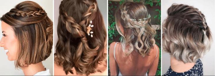 quatro fotos de diferentes mulheres com tranças em cabelos curtos de diferentes cores e texturas