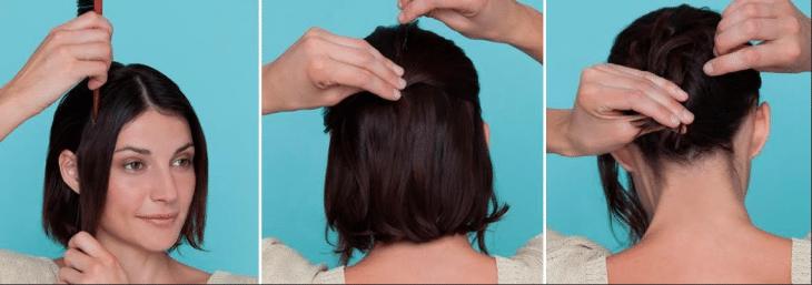 três fotos de uma mulher com cabelo curto castanho mostrando em sequência como fazer trança em cabelo curto