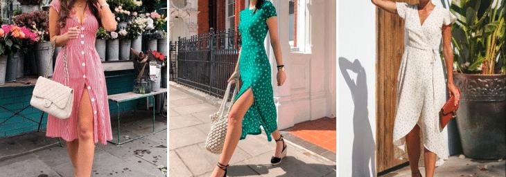 três fotos de mulheres usando vestidos de verão estilo midi nas cores verde, branco e rosa
