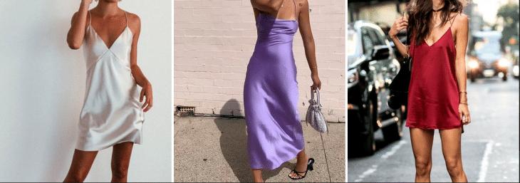 tr^^es fotos de mulheres usando vestido estrilo camisola nas cores roxa, branca e vinho